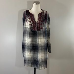 Anthropologie Floreat Embroidered Cotton Plaid Top